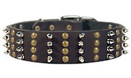 Police dogs Spike Studded Collar/2 2/5 inch wide Leather Studs collar