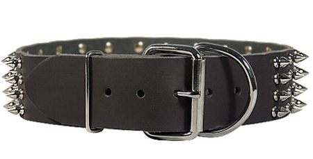 Police dogs Spike Studded Dog Collar/2 2/5 inch wide Leather Studs collar
