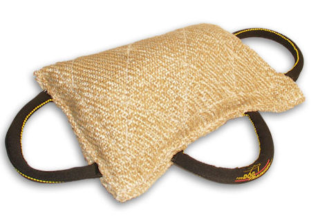 Great Jute Bite Pillow - 3 handle bite tug for young dogs