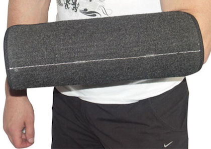 Protection arm cover with support material