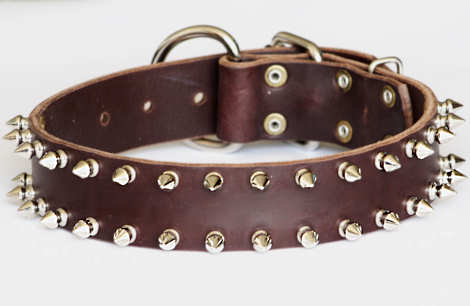 Leather Spiked Dog Collar- 2 Rows of spikes collar for all dogs