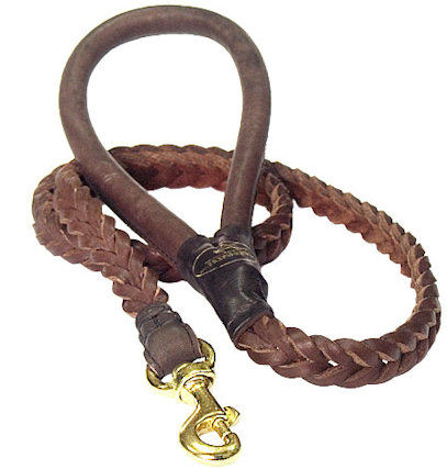 4 FT Braided Leather Dog Leashes for police dogs
