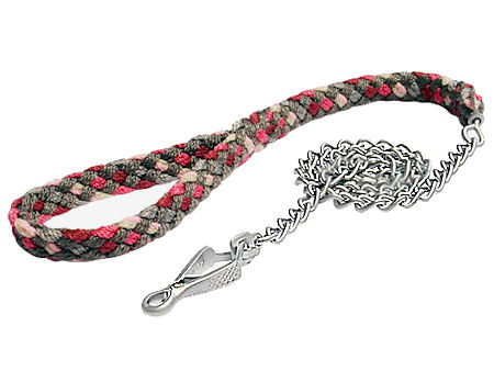 4 ft Braided nylon dog leash with chain for police dogs show