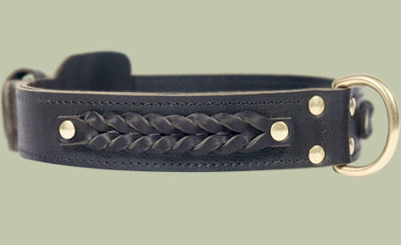 Center D-Ring Leather Collar for police dogs