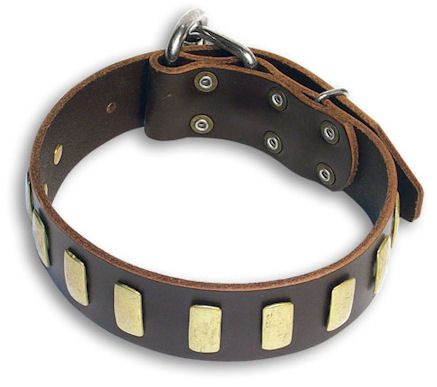 GENUINE LEATHER DOG COLLAR 1 1/2'' wide for police dogs