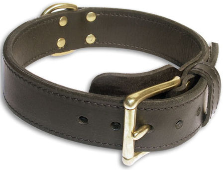 Heavy Duty leather Dog Collar for schutzhund dogs