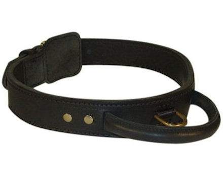 Heavy Leather Dog Collars w/Handle 2 layers for Police dogs