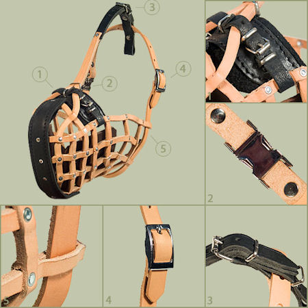K9 Leather Basket Dog Muzzle-Police Model