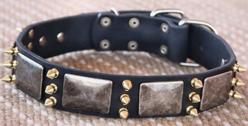 spiked leather dog collar- handmade best dog collar with spikes