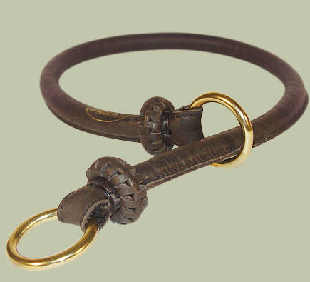 Round Leather Slip Collar-Rolled Choke Collar for working dogs