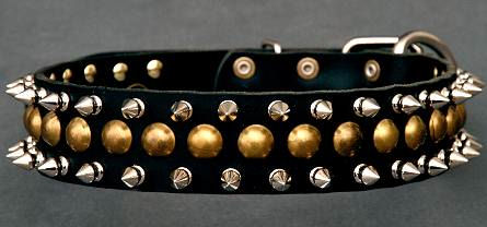 Studded Latigo Leather Dog Collar for police dogs