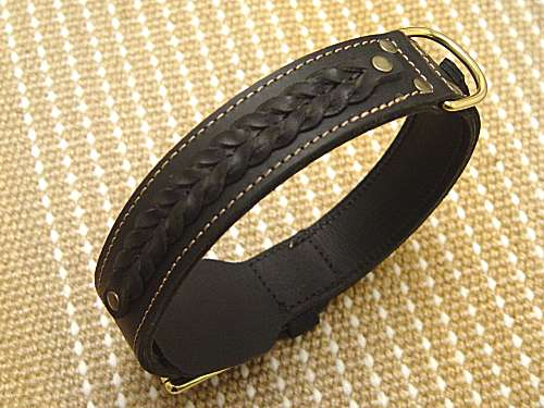 Gorgeous Wide 2 Ply Leather Dog Collar