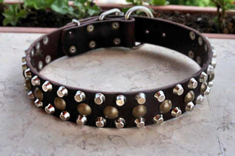 Studded dog collar - 3 Rows Leather Dog Collar &Studs &Pyramid