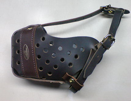 training agitation leather dog muzzle