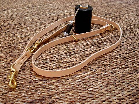 Leather dog leash multi functional for dog training or for dog owners