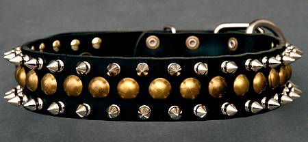 3 Rows Leather Spiked and Studded Dog Collar for dog training or for dog owners