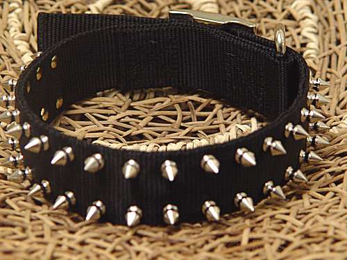 Black Nylon Spiked Dog Collar-2 Rows of spikes for all breeds