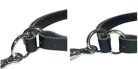Adjustable Leather Slip Collar with solid hardware  for police dogs